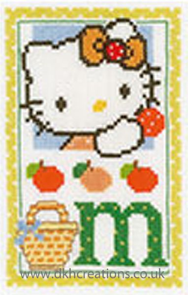 Hello Kitty Alphabet Letter M Cross Stitch Kit